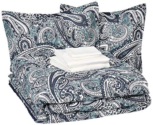 Amazon Basics 8-Piece Ultra-Soft Microfiber Bed-In-A-Bag Comforter Bedding Set - Full/Queen, Blue Paisley
