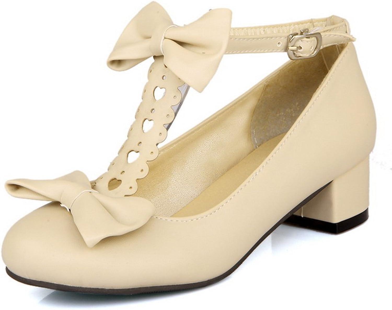 BalaMasa Womens Bows Chunky Heels Metal Buckles Urethane Pumps shoes
