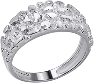 Men's Nugget Ring - Plain Solid 925 Sterling Silver Ring For Men - Sizes 6-13