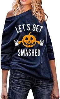 Succper Women's Long Sleeve Sweatshirt Halloween Pumpkin Letter Print T-Shirt Autumn Off-The-Shoulder Blouses