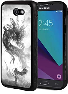 Galaxy J3 2017 Case, J3 Prime/J3 Emerge Case, Slim Anti-Scratch TPU Rubber Protective Case Cover for Samsung Galaxy J3 2017 - Chinese Style Ink Painting Dragon