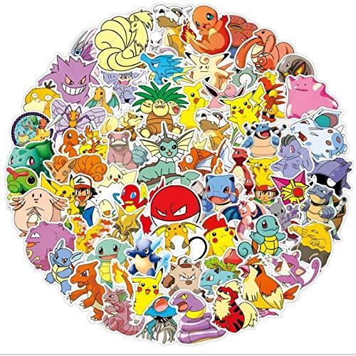YZFCL Pokemon Tarjeta de Pokemon Graffiti Impermeable monopatín Maleta de Viaje móvil portátil Equipaje Pegatina Lindos Juguetes para niñas y niños 100 Piezas