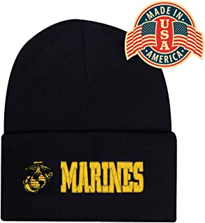 Black Gold US USMC Marines Officially Licensed Logo Globe Military Cuff Watch Cap Stocking Hat Beanie