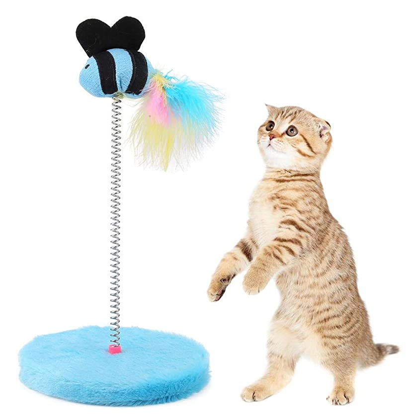 HEEPDD Colorful Feather False Fish Toys Spring Elastic Fishes Cat Catcher Funny Mini Interactive Toy Kitten Scratcher Teaser Cat Supplies for Pets Playing Jumping Catching