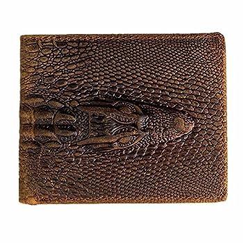 HRS Genuine Leather Distressed Mens Wallet Alligator Crocodile Embossed Slim Bifold Minimalist Wallet