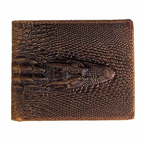 HRS Genuine Leather Distressed Mens Wallet Alligator Crocodile Embossed Slim Bifold Wallet