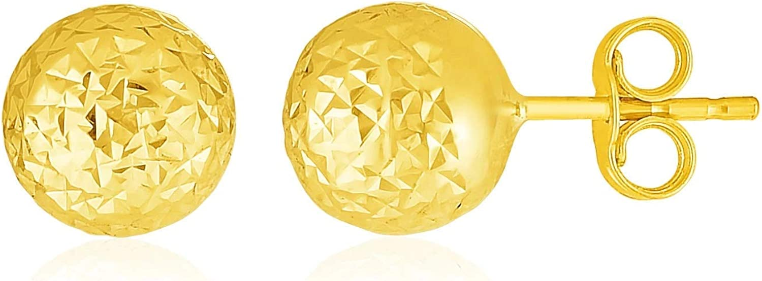 14k Yellow Gold Ball Earrings with Crystal Cut Texture (.28 inches)
