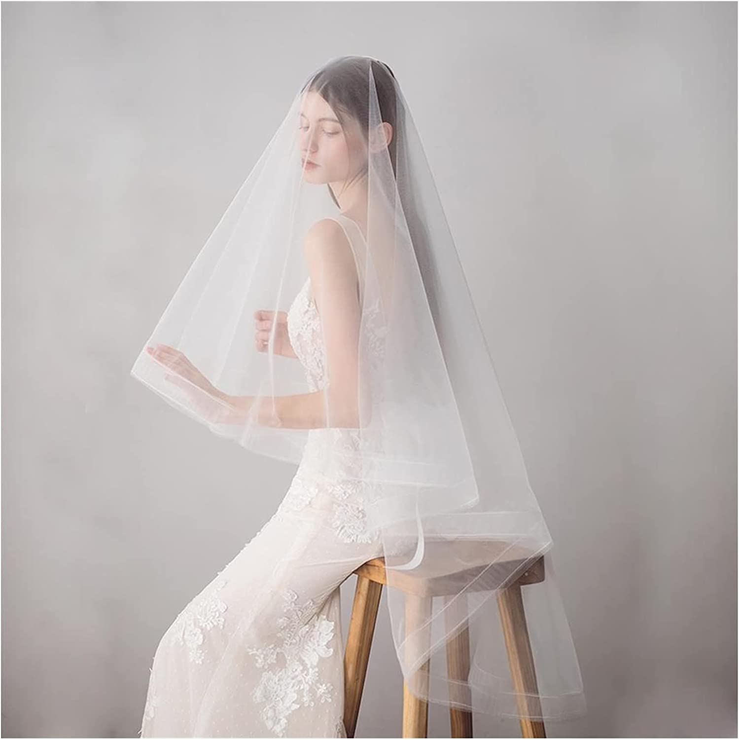 xunyang Simple Bombing free shipping Ivory Color Bridal Veil Under blast sales with Comb Tulle Wedding S