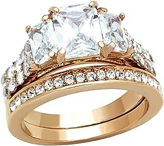 Rose Gold IP Women Wedding Engagement Ring Set Three Stone Stainless Steel Emerald Cut Cubic Zirconia Size 5-10 SPJ