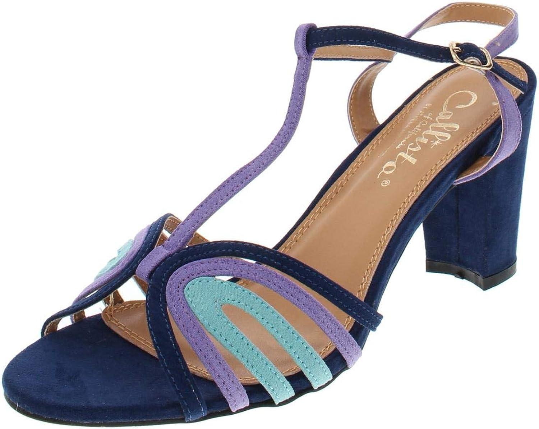 Callisto of California Womens Campie Faux Suede Block Heel Dress Sandals