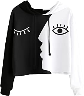 Sweatshirt,Toimoth Women Ladies Sweatshirt Hooded Long Sleeve Crop Patchwork Blouse Pullover Tops