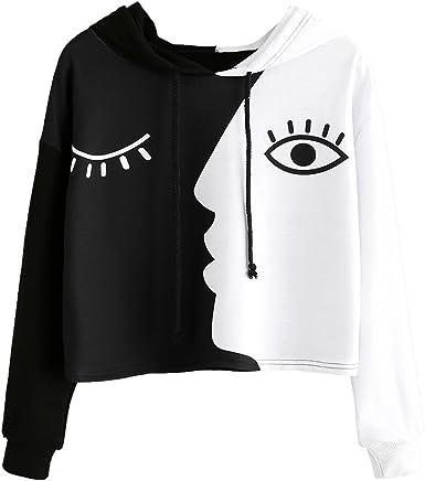 Sweatshirt,Toimoth Women Ladies Sweatshirt Hooded Long Sleeve Crop Patchwork Blouse Pullover Tops