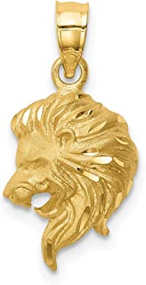 Lex & Lu 14k Yellow Gold Brushed and D/C Lion Head Pendant