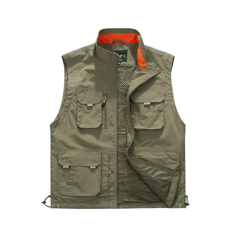 メンズ春秋メッシュgiletベスト、アウトドアマルチポケット機能写真釣り大型サイズの紳士服,Khaki,6XL