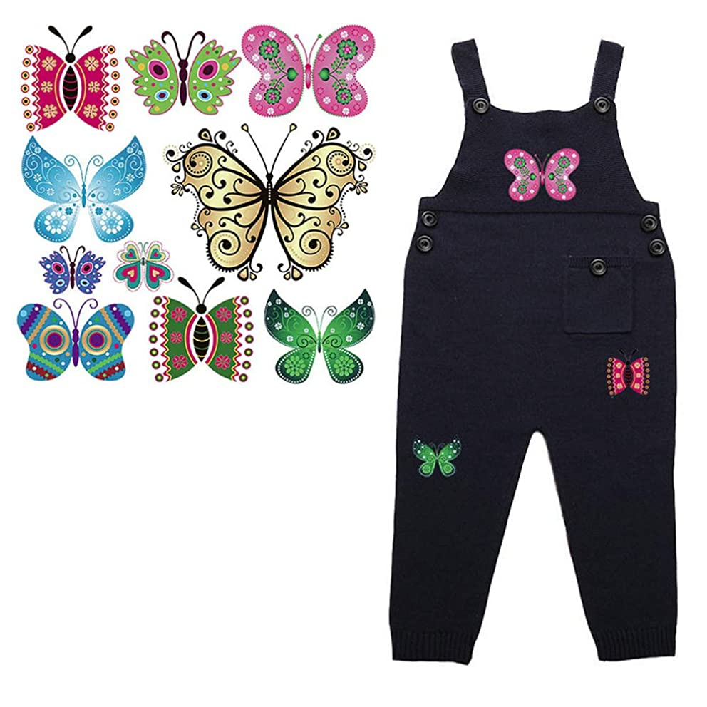 Butterfly Patches Applique Heat Transfer Stickers Repair Decorate Clothing Jeans T-Shirt Jackets Hats Backpacks for Kids Boys Girls Animal Stickers Waterproof A-Level Washable 10 PCS
