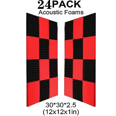 24 Pack- Black/Red Acoustic Panels Studio Foam Wedges 1  X 12  X 12  (24PCS, Black&Red)