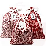 Appleby Lane Reusable Fabric Gift Bags (Large Set, Red) Set of 3 Bags, Two 16x20 inch and one 12x16...
