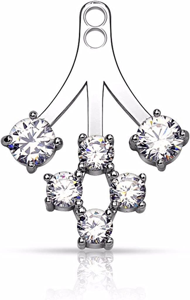 Pair of 6 Round CZ Ranking TOP16 Cluster Add Barbell Earring Cartilage On Excellence Jack