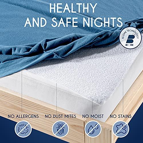 Dreamzie - Funda Impermeable Colchon 150 x 200 cm - Tela 100% Algodón Oeko Tex - Protector Colchon Hipoalergénico, Anti-Bacteriano, Anti-Acaros - Elásticos de hasta 28cm - Made in EU