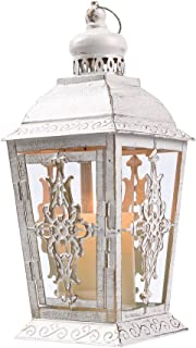 JHY Design Decorative laterns-13inch High Metal Candleholder Or Vintage Style Hanging Lantern for Indoor Outdoor, Events, Parities and Weddings(White with Gold Brush)