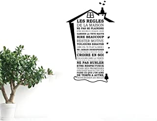 banehg Wall Sticker Lettering Quotes and Saying Cat House Roof and House Rules for Living Room