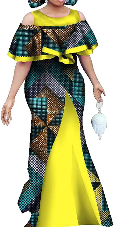 Ouxiuli Women Fashion Traditional African Prints Cold Shoulder Bodycon Maxi Dress
