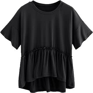 Women's Loose Ruffle Hem Short Sleeve High Low Peplum Blouse Top