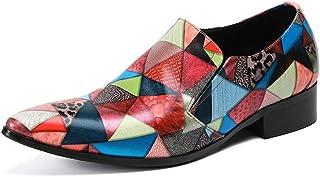 DEAR-JY Chaussures d'uniformes habillées Homme,Personnalité Mocassins imprimés en Cuir véritable Chaussures d'affaires For...