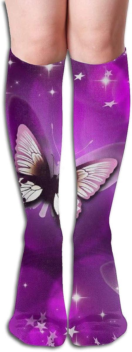 Women's Knee High Socks Purple Butterfly Athletic Fashion Girls Leg Winter Dresses Trouser Knit Cosplay Stockings