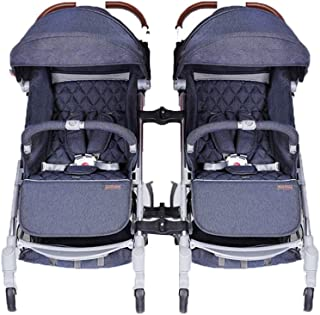 Double Stroller Pushchair, Baby Stroller Buggy One Step Design for Opening and Folding with Rain Cover and Cup Holder Hooks Lightweight Travel System, Blue