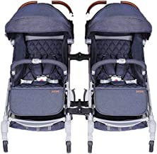Double Stroller Pushchair, Baby Stroller Buggy One Step Design for Opening and Folding with Rain Cover and Cup Holder Hooks Lightweight Travel System