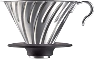 Hario V60 Metal Coffee Dripper, Size 02, Silver