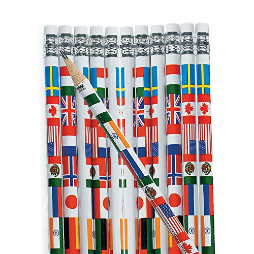 Multicultural Flags of the World Pencils (set of 24) Perfect teaching diversity in the Classrooms and Teacher Supplies