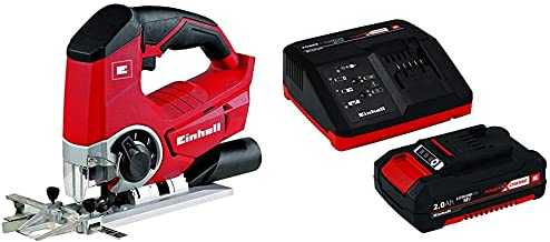 Einhell TE-JS 18 Li - Sierra de calar inalámbrica, 12 W, 18 V, función de soplado de polvo (ref. 4321200) + 4512040 Kit con Cargador batería de Repuesto, tiempo de carga: 30 Minutos