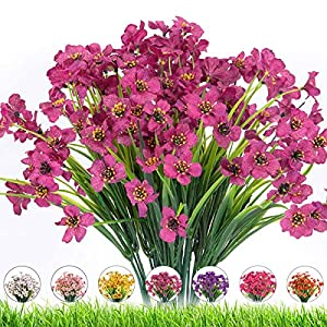 LSD Artificial Outdoor Flowers 8 Bundles UV Resistant Fake Flowers,Artificial Violet Flowers Plastic Faux Flowers Greenery Plants for Outdoor Hanging Plants Garden Porch Window Box Decoration