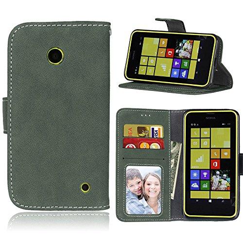 pinlu Funda Para Nokia Microsoft Lumia 630 Alta Calidad Función de plegado Flip Wallet Case Cover Carcasa Piel Retro Scrub PU Billetera Soporte Con Ranuras Pequeño Verde