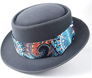 2019 Mens Womens Hats Unisex Men Women Flat Top Pop Church Soft Fashion New Pork Pie Hat with Blue Ribbon Dad Wool Fedora Trilby Fascinator Hat Dance Party Hat Casual (Color : Gray, Size : 58)