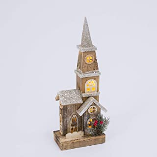 16-Inch Rustic Lighted Wood Christmas Church Decoration – Tabletop Holiday Decor
