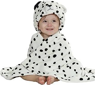 エルフ ベビー(Fairy Baby) 豹模様ベビーバスローブ ポンチョ バスタオル フード付き お風呂 着ぐるみ ワンサイズ ホワイト