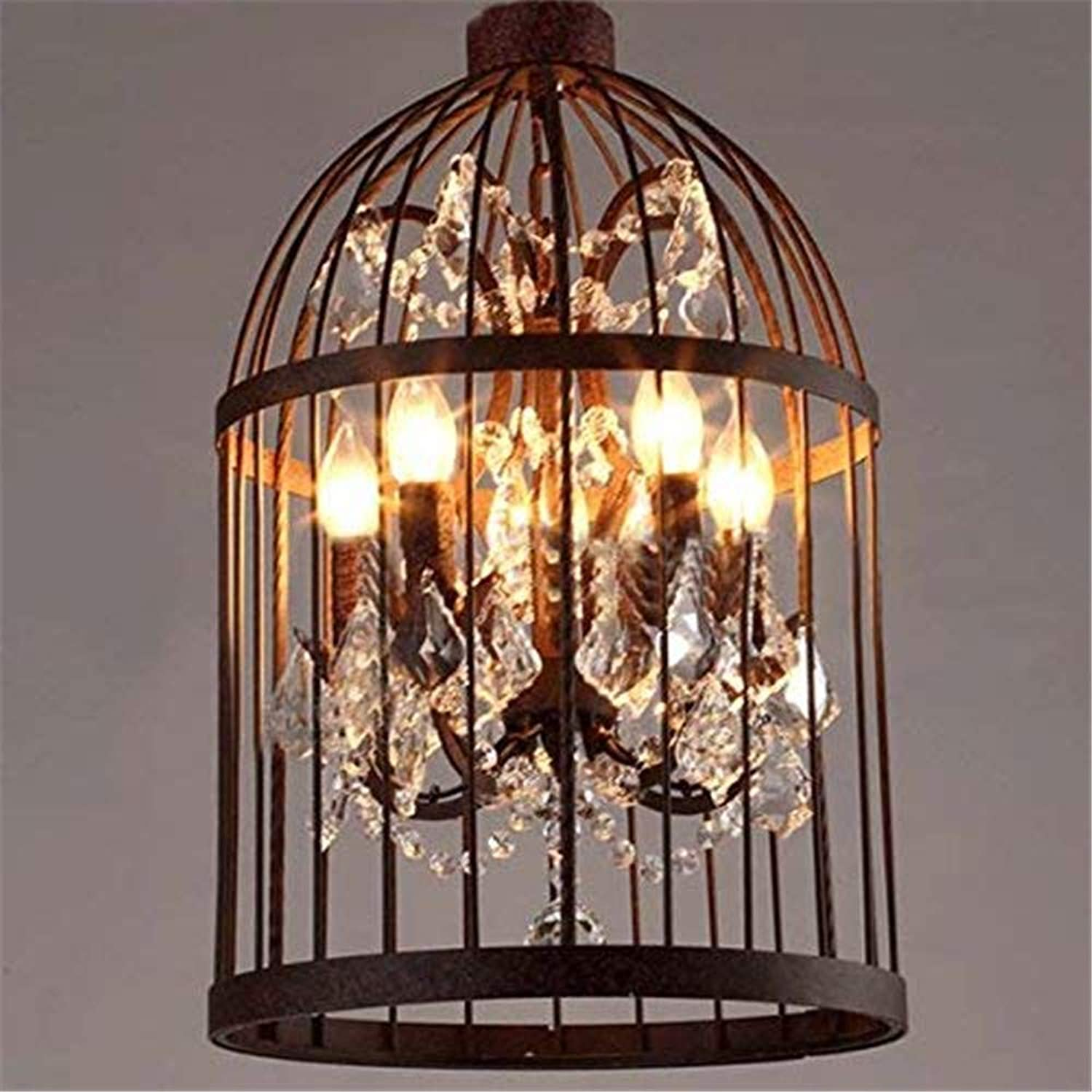 Ruanpu Industrial 13.78  4 Lights Pendant Retro Chandelier Vintage Ceiling Light lamp Bird Cage Shaped Bedroom Pendant with Crystal Accent (Rust)
