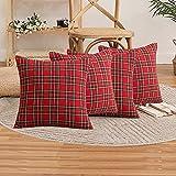 Lot de 4 housses de coussin en tartan écossais, classiques et durables, douces et confortables, peuvent être utilisées dans le salon ou pour devenir une maison de Noël, 45 x 45 cm