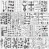 Qpout 300 Tatouages Temporaires pour femmes filles hommes garçons enfants,autocollants noirs imperméables,orignal,clés,diamant,tatouages de papillon pour les cadeaux de fête d'anniversaire 30 feuilles