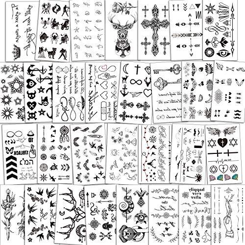 Konsait Temporary Tattoos for Women Girls Men Boys Kids(30 Sheets), Black Tiny Waterproof Temporary Tattoo Fake Tattoos Body Art Sticker Hand Neck Wrist Cover Up Set