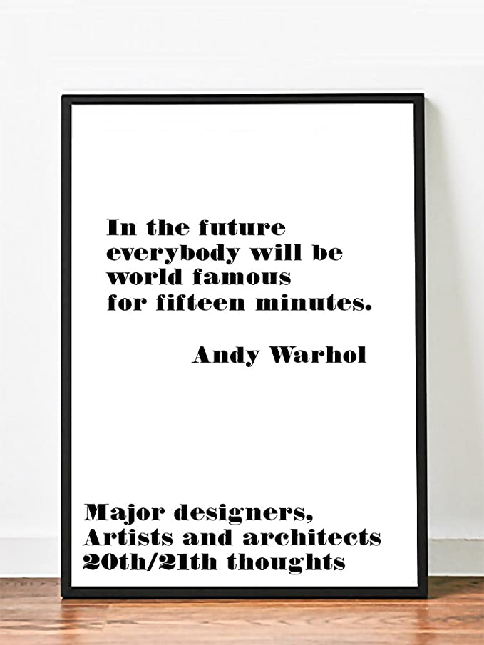 Poster Andy Warhol , in the Futur Inspirational Art Quote . Typography Print. (20 x 28)