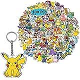 GTOTd Pokemon - 100 pegatinas con llavero de Pikachu, para botella de agua, equipaje, teléfono, guitarra, ordenador, bicicleta, skateboard