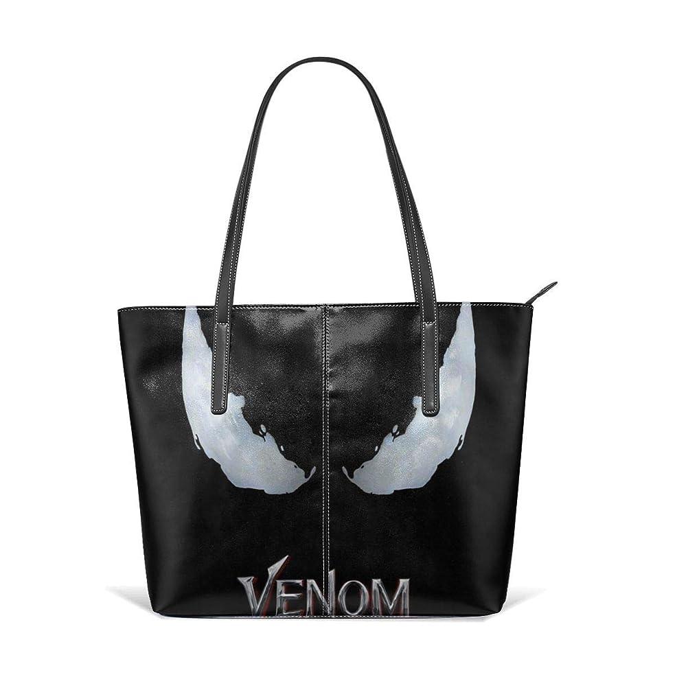 小道具かまどたるみVenom-movie-logo-スパイダーマンのヴェノム スマホリング ファッション 仕事旅行ショッピング学校のための女性の革大きいトートショルダーバッグハンドバッグ