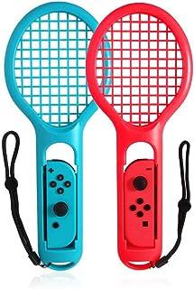 Switchテニスゲームラケット, AROC マリオテニス エースに対応テニスラケット ラケット型アタッチメント Nintendo Switch Joy-Con用 軽量ABS製 落下防止ストラップ付き高感度 臨場感 2個セット (赤1+青1)