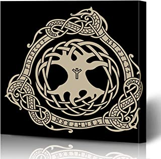 Ahawoso Canvas Print Wall Art 16x16 Inch Face Yggdrasil Design Raven Celtic Scandinavian Style Norse Runes Black Ancient Girl Modern Artwork Printing Home Decor Wrapp Gallery Painting