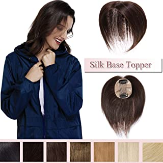 100% Remy Human Hair Silk Base Top Hairpiece For Women Clip In Crown Topper Hand-made Toppee Hair Topper Crown Top Piece Middle Part With Thinning Hair Grey Hair (Midium Brown 10''20g)