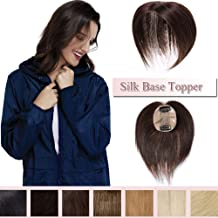 100% Real Human Hair Silk Base Top Hairpiece Clip in Hair Topper for Women Crown in Hand-made Toppee Middle Part with Thinning Hair Loss Hair #4 Medium Brown 16''30g
